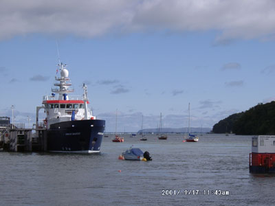 The research vessel 'Prince Madog' tied up at Menai Bridge pier. Photo © D Perkins 2001.