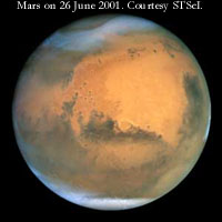Hubble telescope best view of Mars ever on 26 June 2001. Courtesy of Space Telescope Science Institute.