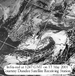 Infra-red at 1247 GMT on 17 May 2001: Image Courtesy of the University of Dundee, Scotland.