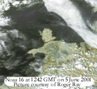 False colour photo from Noaa 16 courtesy of Roger Ray.