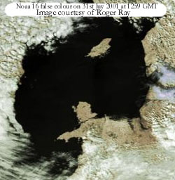 A sunny day for Anglesey, the Isle of Man and the Lake District. Noaa 16 on 31 July 2001. Courtesy of Roger Ray.